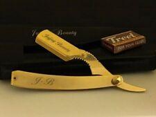 FULL GOLD BARBER CUT THROAT STRAIGHT SHAVING RAZOR SHAVETTE RASOI RASOIRS