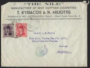 EGYPT UK 1944 WAR TIME ALEXANDRIA TO SURREY WITH BRITISH RARE DEPUTY CHIEF FIELD