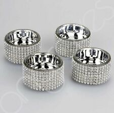 Set Of 4 Diamante Glass Tealight Holder Candle Holder Cup Sparkling Christmas
