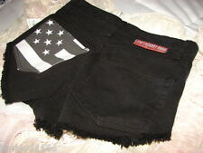 THE LAUNDRY ROOM BLACK DENIM BOOTY SHORTS SIZE 24 NWT THESE SHORTS I SALUTE!!!!