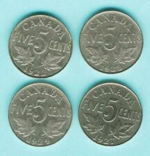 1922 1923 1924 1927 CANADA 5 Cent Nickels Coin KING GEORGE V