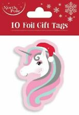 10 Luxury Unicorn Christmas Kids Party Foil Gift Tags - Gift Wrapping Wrap Paper