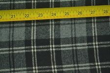 """By 1/2 Yd, 60"""" Wide, Black White & Gray Tartan/Plaid Lt-to-Mid-Weight Wool, D727"""