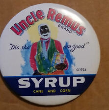 Vintage Uncle Remus Syrup Advertising Pin-back Button Pin