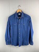 Maddox Men's Long Sleeve Snap Button Up Shirt Size S Blue
