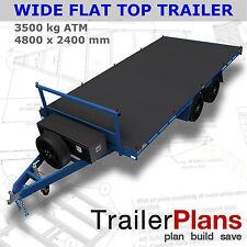 Trailer Plans-3500KG FLAT TOP WIDE BED TRAILER PLANS-4800x2400mm-PLANS ON CD-ROM