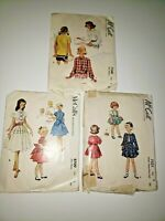 McCall's Vintage Sewing Patterns Lot of 3 Girls Size 6 Blouse Dress Cut Used