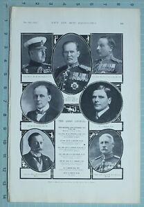 1914 WW1 PRINT ARMY COUNCIL DOUGLAS MAJ GEN COWANS BAKER SCLATER TENNANT