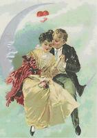 Over the Moon Vintage Victorian Valentine Couple DIGITAL Cross-Stitch Pattern