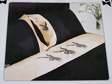 Playboy Bunny Black Leopard Double Bed Satin Fitted Sheet Set New