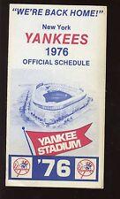 1976 New York Yankees Miller Beer Baseball Schedule EXMT