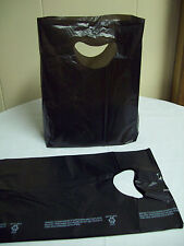 "100 Bags 7 x 3 x 12"" Black Plastic Merchandise Bags with Handles New"