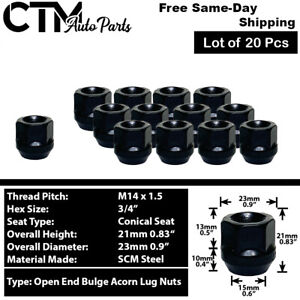 20Pc BLACK M14x1.5 OPEN END ACORN LUG NUT FIT FORD GMC TESLA LINCOLN RAM MORE