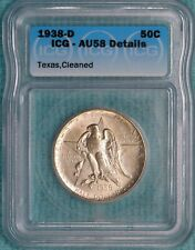 1938-D AU-58 Details Texas Independence Early Commemorative Silver Half