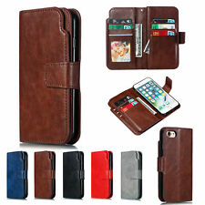 9 Card Solid Color Flip Leather Wallet Phone Case Cover For iPhone 6 7 8 X 11 12