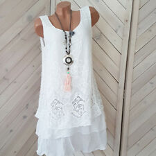 Sommerkleid weiß mit Spitze Volant Rüschen Häkel  Kleid 38 40 42  one size  H 7