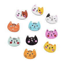 50pcs 2 Holes Mixed trendy Cat Animal Sewing Scrapbook Children Wooden Buttons