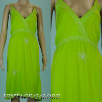 VTG 80s 90s Grunge Green Embroidered Hawaiian mid length sun dress Sz S M
