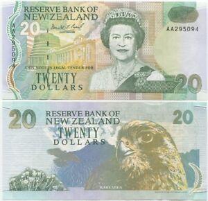 New Zealand 20 Dollars 1992 UNC, P-179, AA prefix, scarce