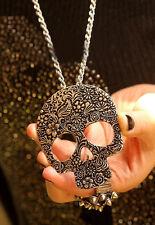 Vintage Bronze Punk Rock chic Gothic Skull Pendant Craft Necklace Long Chain