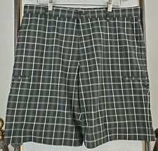 ADIDAS Shorts 36 Waist 11 Inseam Mens Black Tartan Plaid Golf/Casual Cargo