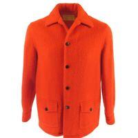 Vintage 60s Hudsons Bay Point Blanket Jacket L Red England Wool Winter Coat