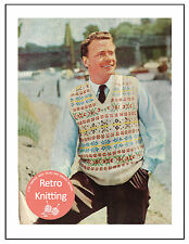 1950s Fair Isle Pullover Vintage Knitting Pattern Copy