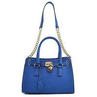 New Women Faux Leather Satchel Handbag Tote Shoulder Bag Top Handle Purse Blue