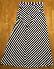 NWT Design History Women's White & Black Striped Maxi Skirt - Size: Medium