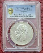 1872 BELGIUM 5 Francs PCGS Genuine Cleaning UNC Details [KM#24] Silver 0.90