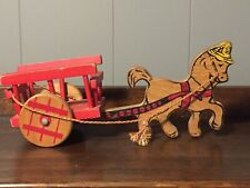 Vintage Wooden Pull Toy Donkey Cart