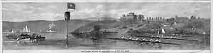 WEST POINT ROWING SCULLING HISTORY 1868 ENGRAVING CADETS REGATTA AT