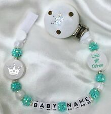♕ Personalised DUMMY CLIP Max 10 letters ♕ LITTLE PRINCE ♕ MINT GREEN/Sparkle ♕