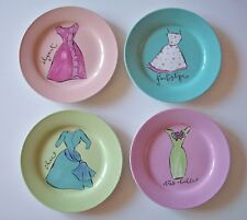 Rosanna Chic FRENCH COUTURE Fashion DESSERT PLATES Ceramic Pastel Set/4 NIB