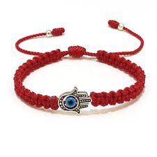 Hamsa Red String Evil Eye Bracelet Hand Of Fatima Silver Pendant Handmade Ruigos