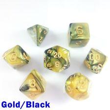 Elemental Poly 7 Dados Rpg conjunto oro negro dos Tonos 5e D&D DND Dungeons Dragons HD
