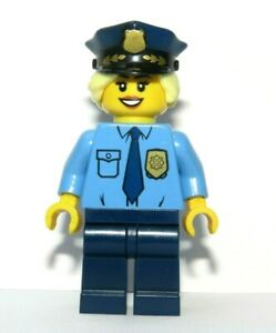 LEGO Girl Minifigure Police Policewoman Officer Blonde Hair Hat Reversible Head