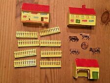Vintage Miniature Farmhouses, Fencing and 4 Cows