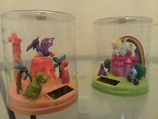 "2 X New Solar Fluttering Purple Dinosour & White Horse Dancing in 3"" H Globe"