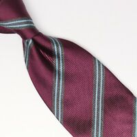 Gladson Mens Silk Necktie Burgundy Gray Light Blue Stripe Weave Woven Tie Italy