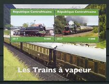 Central African Rep 2017 MNH Steam Trains Engines Locomotives 2v M/S Stamps