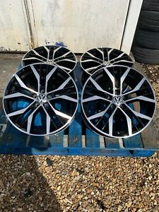 """17"""" Santiago Style Alloy Wheels Only Black/Diamond Cut to fit Volkswagen Caddy"""