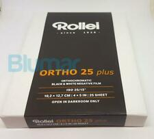 25 sheets Rollei ORTHO 25 plus 4x5 inch large format ISO 25 B&W film Fine Grain