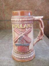 "HOLLAND MICHIGAN Ceramic Stein..7 1/4""tall..Draw Bridge on Back..Good cond."