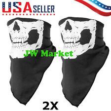2PCS Skeleton Ghost Skull Face Wrap Hood Biker Halloween Balaclava Cosplay