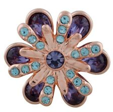 Rose Gold Purple Blue Rhinestone Flower 20mm Snap Charm For Ginger Snaps Jewelry