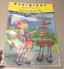 "Unopened Grill Magnet Flag Evergreen American Home 18"" x 12.5"" Decoration Dad"