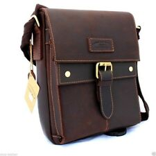 genuine Vintage Leather men Bag Messenger for iPad air Shoulder Satchel School 2