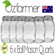 6 x 1 Litre Quart Ball Mason Australia Preserving Jars Regular BPA Free