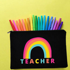 eco friendly canvas girl painted pencil case coach school girl black stationary